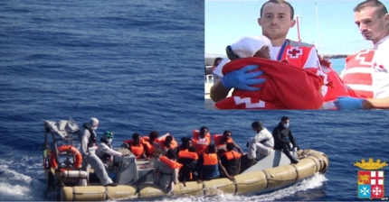 Eritrean Migrant Gives Birth to a Baby Boy on an Italian Navy Ship