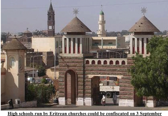 Eritrean Regime Plans to Confiscate  All High Schools Run by Churches